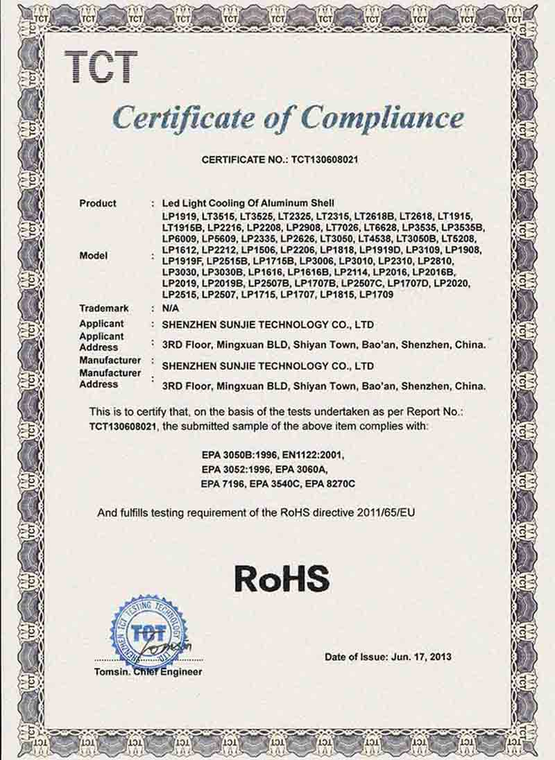 ROHS for aluminum profile