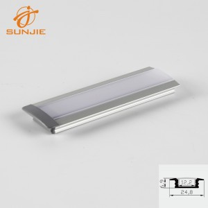 SJ-ALP2507 recessed mounted aluminum led strip profile for 12mm width pcb