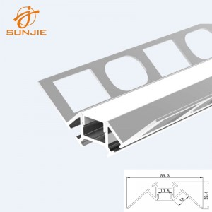 SJ-ALP5623 LED Aluminum Extrusion for Tile or ceramic Inside corner mounted
